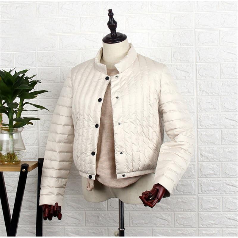 Sanishroly ฤดูใบไม้ร่วงผู้หญิงฤดูหนาวสั้น Tops Stand Collar เป็ดสีขาวลงเสื้อแจ็คเก็ตหญิง Ultra Light Down Coat Parka Plus ขนาด SE544-ใน เสื้อโค้ทดาวน์ จาก เสื้อผ้าสตรี บน   1