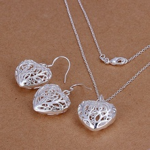 Silver plated refined luxury classic openwork caring two piece sets necklaces bracelets hot selling wedding jewelry S108