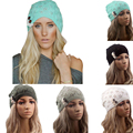 Woman Fashion Tree Leaf Button Knitted Woollen Beanies Skullies Hats Caps White/Black/Light Gray/Light Blue/Dark Gray
