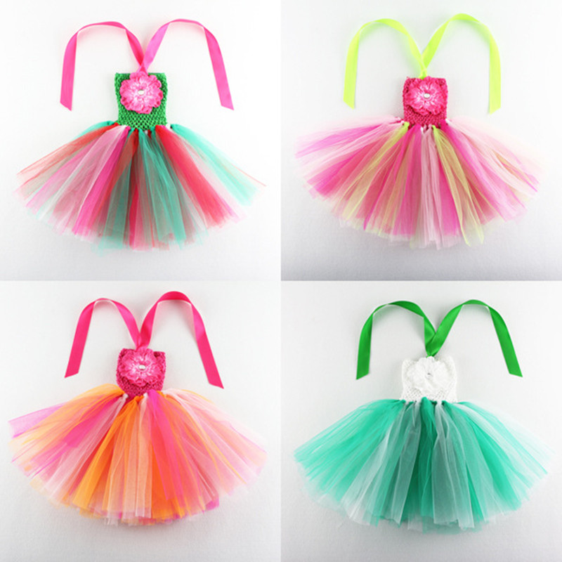 Sweet Candy Rainbow Flower Girl Tutu Dress for Birthday Photo Wedding Party Festival Kids Halloween Costume 2017 Floral rainbow flower girl tutu dress for