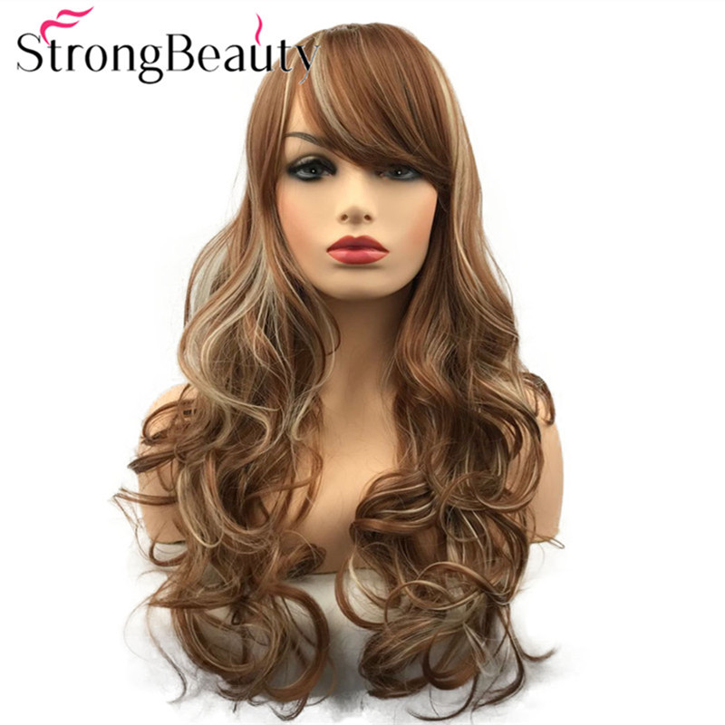 StrongBeauty Long Curly Wigs with Bangs Synthetic Wig Heat Resistant Women's Hair