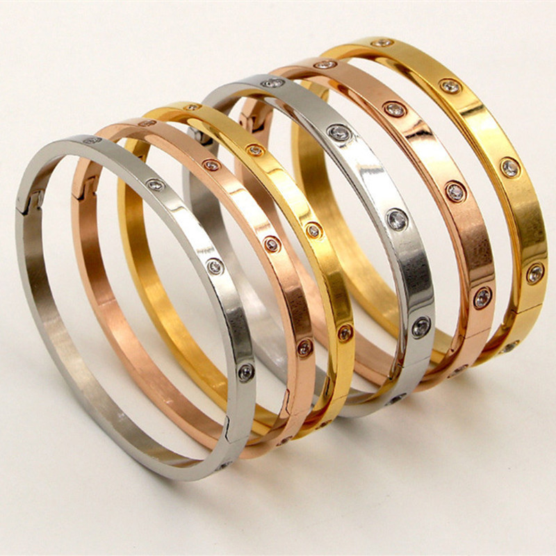 Fashion Love Jewelry Women Bangle Titanium Steel Couple Jewelry Full CZ White Crystal Buckle Bracelets Bangles Men B001