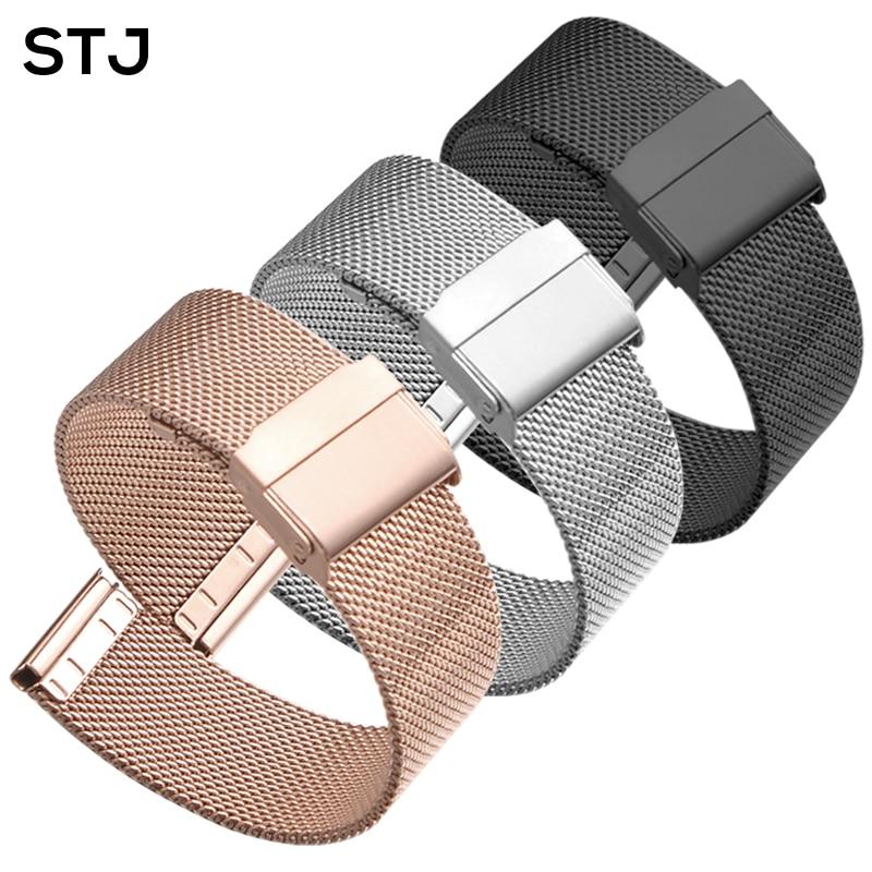 STJ Alça Aço Inoxidável Marca 16mm 18mm 19mm 20mm 22 milímetros Pulseira para Samsung Galaxy Relógio 42mm 46mm Milanese Pulseira De Metal