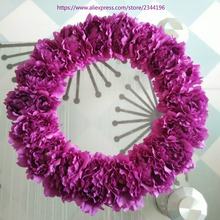 Spring Front Door Wreath,20 Inches Fuchsia Wreaths With 18 Penoy ,home U0026  Wedding Decoration,party Birthday Flowers