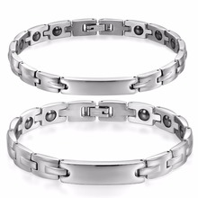 BONISKISS Fashion Bio Energy Healthy Magnetic Stainless Steel Bracelet for Couple Lovers  Therapy Magnets Bangle hottime 4 in 1 bio elements energy magnetic bracelet red copper arthritis therapy health men s bracelets fashion jewelry 10211