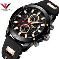 NIBOSI Sport Watch Waterproof Chronograph Men Watches Military Army 2018 Luxury Brand Silicone Black Analog Clock Men Auto Date