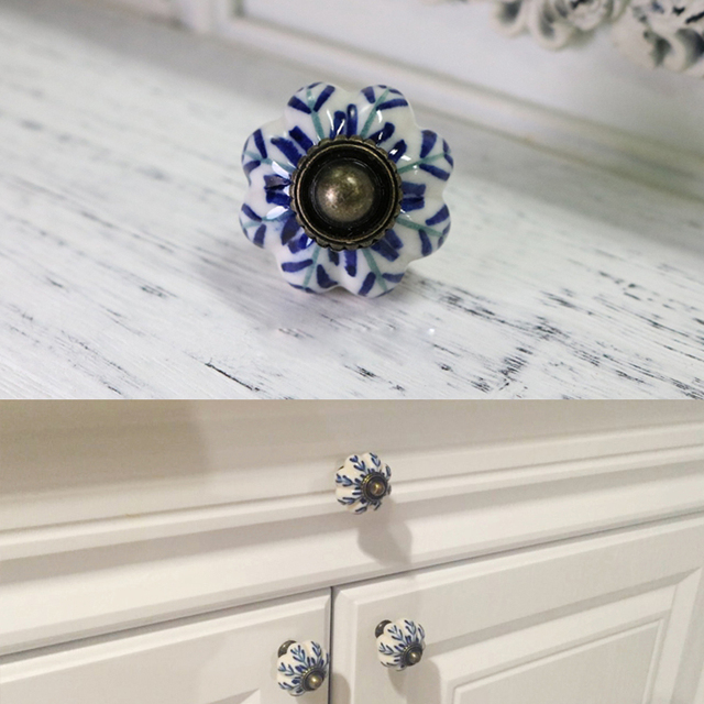 Aliexpress.com : 8x Vintage Möbel Griff Blau und weiß porzellan ...