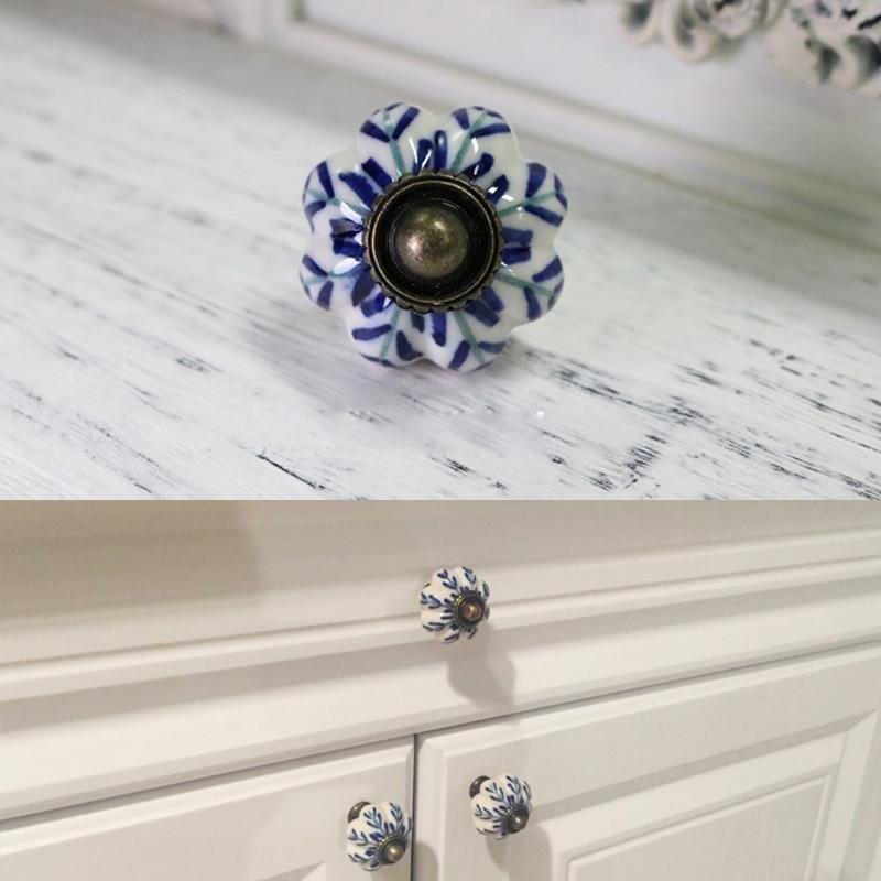 13 32 15 De Reduction 8x Vintage Meubles Poignee Bleu Et Blanc Porcelaine Ceramique Boutons Et Poignees Pour Porte Poignee Placard Tiroir Cuisine