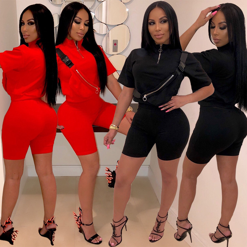 ABASONA Sexy Zip Pocket Shirt Tops Tees and Knee Length Pants Bodycon Suits Two Piece Set Casual Tracksuit Outfits Plus Size