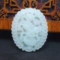 Caja de cobre y riqueza dragón de Jade Blanco Natural suerte Tallado amuleto de jade chino propicia colgante