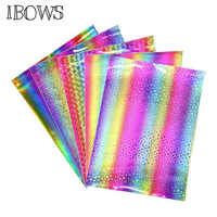 22cm*30cm Laser Rainbow Synthetic Leather Fabric Sheet Holographic Pu Fabric Handmade Materials For DIY Mini Hair bow Fabric