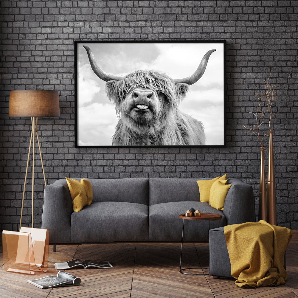 Nordic Decoration Highland Cow Cattle Wall Art Canvas Poster And Print Animal Canvas Painting Picture For Living Room Home Decor in Painting Calligraphy from Home Garden