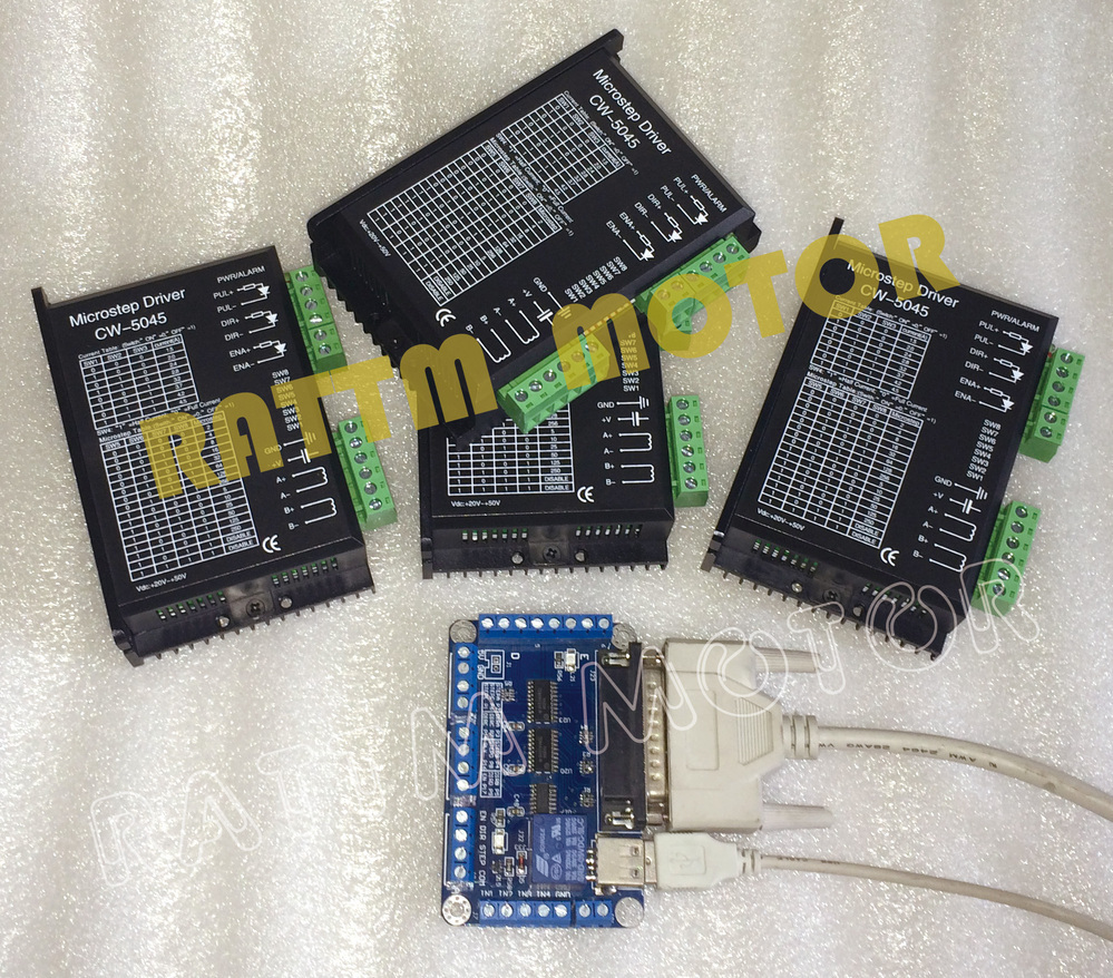 4pcs CW5045 50V 4.5A stepper motor Driver with 5 Axis breakout board for NEMA17 NEMA23 stepper motor CNC Router Milling Machine
