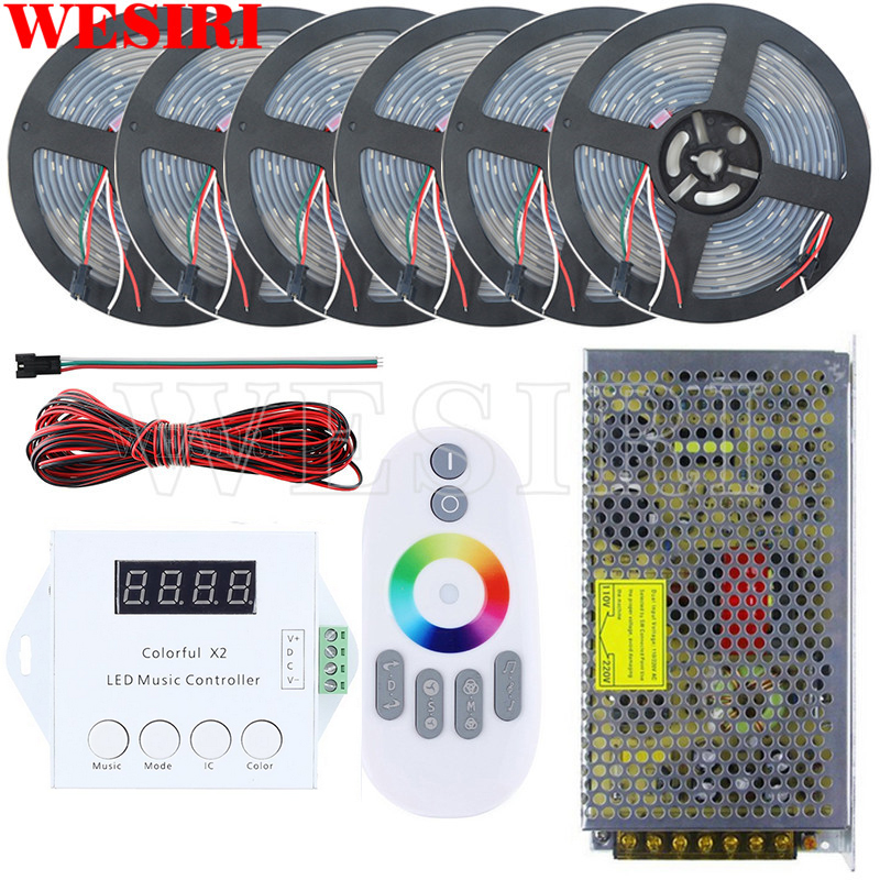 US $55 79 38% OFF|DC5V 5m/10m/15m/20m/25m/30m 150leds WS2812B Addressable  LED Pixel Strip Waterproof+Remote Music Controller+Power Supply Kit-in LED