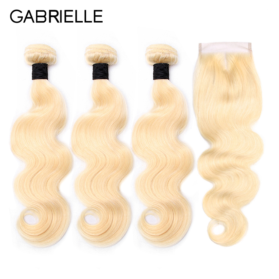 Gabrielle brazilian blonde hair body wave bundles with closure 100% non-remy 613 color human hair extensions free shipping