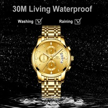 OLMECA Relogio Masculino Men Watch Luxury Watches 3ATM Waterproof Clock Chronograph Wristwatch Stainless Steel Band & Leather