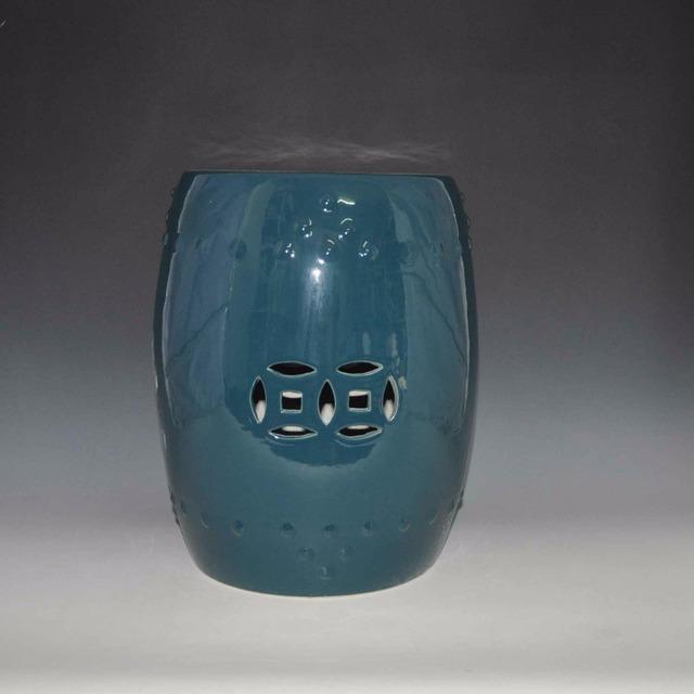 Alta temperatura disparou antigo pavão cor azul porcelana chinesa jardim ao ar livre cadeira de fezes de cerâmica