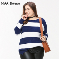 Plus Size Sweater Women Winter Knitted Pullover Sweater O-neck Casual Striped Crop Tops Women 2017 Long Sleeves 4XL 5XL 6XL