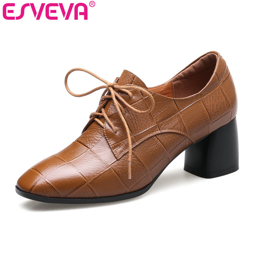 ESVEVA 2018 Women Pumps Square Med Heel Pumps Square Toe Genuine Leather +PU Casual Shoe British Style Lace Up Pumps Size 34-42 esveva 2017 new pointed toe pu women pumps lace up british style fashion shoes women spring square high heel pumps size 34 39