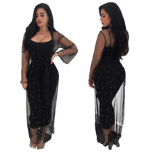 Womens Sheer Mesh Diamonds Sexy Dress Female Strap Black Bodycon Slim Midi Dresses 2 Pieces Club Outfit Woman Pencil Party