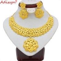 Adixyn индийское ожерелье/Серьги Комплекты украшений для женщин золотой цвет африканский/Дубай/Саудовская Аравия/свадебное сари свадебные по