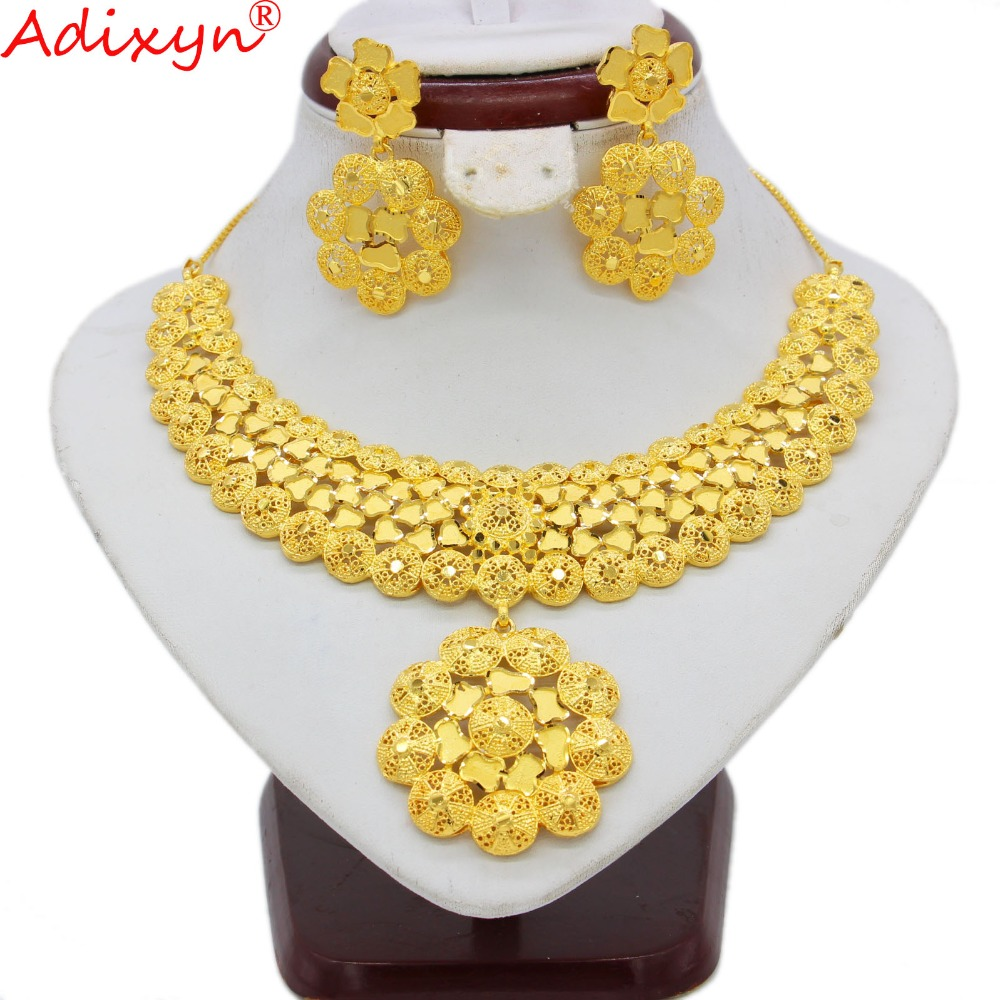 Adixyn India Necklace/Earrings Jewelry Sets for Women Gold Color African/Dubai/Saudi/Arabia/India Bride Wedding Gifts N09067 adixyn dubai gold bangles fashion jewelry for women men gold color bangles bracelets african india middle east items free box