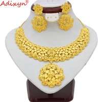 Adixyn India Necklace/Earrings Jewelry Sets for Women Gold Color African/Dubai/Saudi/Arabia/India Bride Wedding Gifts N09067
