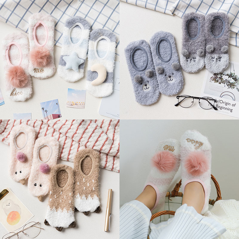new women   socks   2 pairs cartoon floor   socks   thick warm color cute animal printed novelty fashion winter warm lady   socks