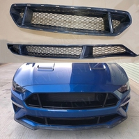 Carbon Fiber Car Front Bumper Mesh Grille Grills Real Carbon Fiber for Ford Mustang 2018 UP Car Styling