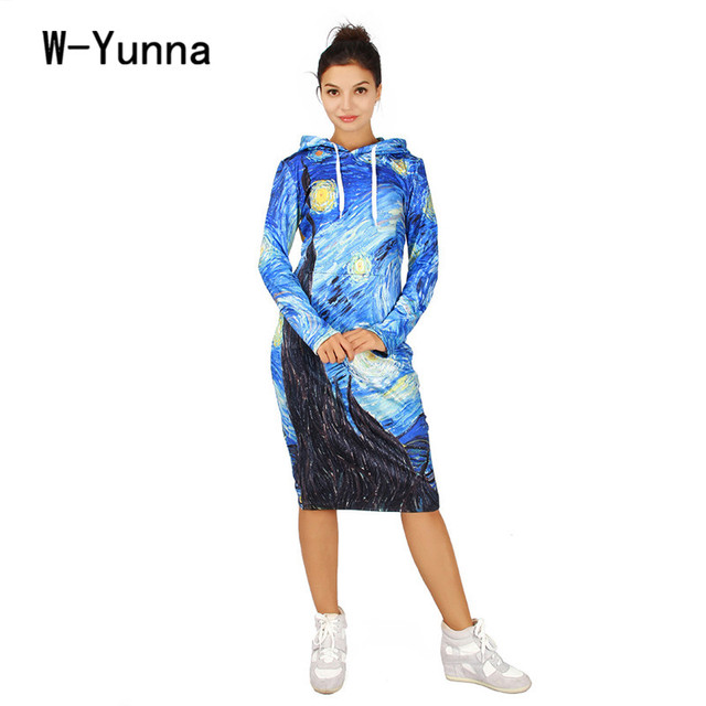 eb78a964a1 US $24.69 5% OFF|2019 Harajuku Kawaii Long Hoodie Dress Quality The Starry  Night 3D Print Long Sweatshirts Women Loose Plus Size Hooded Pullovers-in  ...