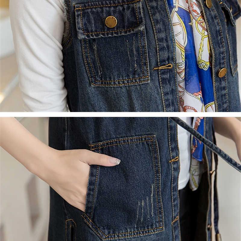 2019 весна осень джинсовый жилет женский летний жилет Femme джинсовый жилет длинный без рукавов Женский Плюс Размер джинсовая куртка R610