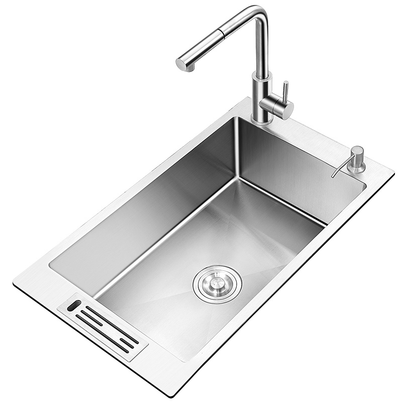 Manual Kitchen Sink  Faucet Package More 3 Mm 304 Large Single Groove Side Basins In Paragraph 3834 Stainless Steel Single Bowl