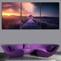 Wall Art Decor Picture 3 Panel Walking In Lavender Flower Field Boy And Girl Poster Canvas Print Painting Living Room Framework