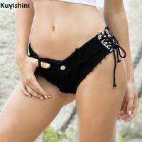 New Summer Woman Sexy Short Jeans Tight Nightclub Low Waist Denim Lace up Shorts for Girls
