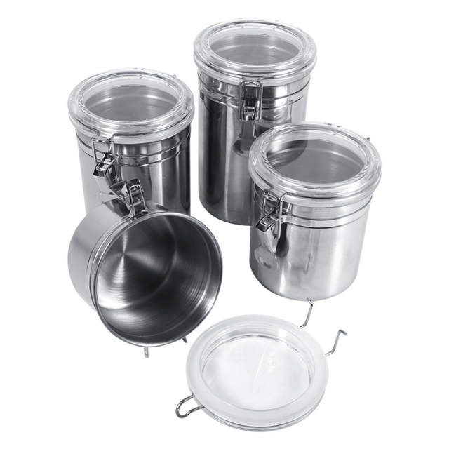 US $7.1 34% OFF|4 Sizes Stainless Steel Kitchen Food Storage Container  Bottle Sugar Tea Coffee Beans Canisters snack Cans Tools-in Storage Boxes &  ...