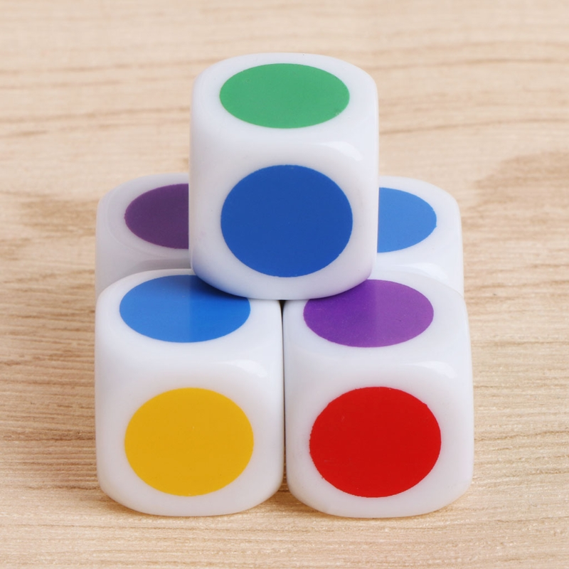 10pcs 15mm Multicolor Acrylic Cube Dice Beads Six Sides Portable Table Games Toy