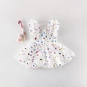 Image 2 - 도매 2019 여름 새 아기 소녀 공주 드레스 반짝이 화려한 폴카 도트 Guze 드레스 오버올 어린이 의류 E81016