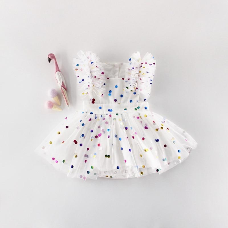 Image 2 - Wholesale 2019 Summer New Baby Girl Princess Dress Glitter  Colorful Polka Dot Guze Dress Overalls Kids Clothing E81016Dresses   -
