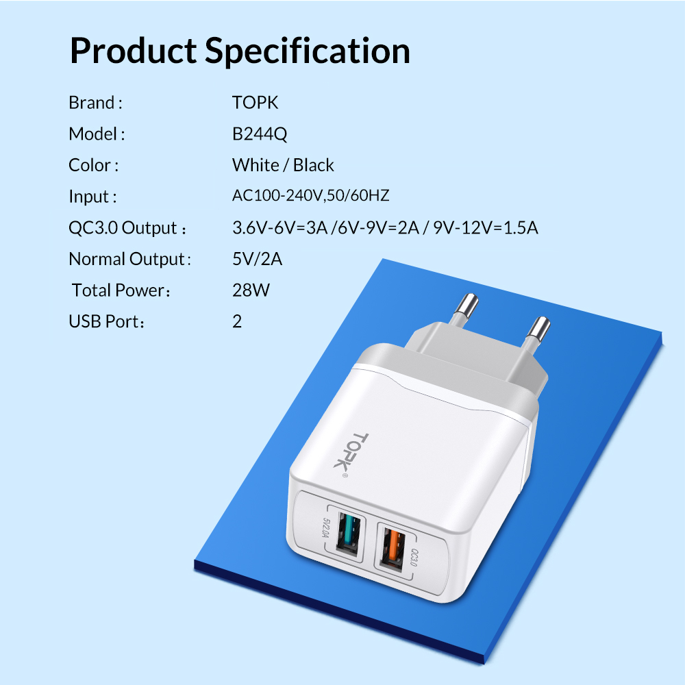 Image 5 - TOPK B244 Quick Charge 3.0 18W USB Charger for iPhone Xs X 8 7 Fast Phone Charger for Samsung Xiaomi Huawei Wall Charger EU-in Mobile Phone Chargers from Cellphones & Telecommunications