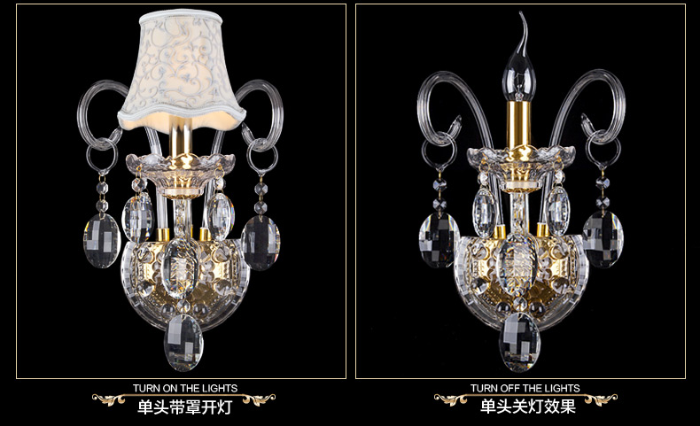 Image 4 - Luxury top K9 crystals transparent gold Crystal Wall Lamp Candle 1/2/3 E14 Bulbs heads lampshades beside bed room light-in Wall Lamps from Lights & Lighting