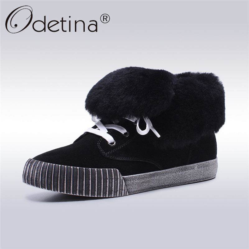 Odetina 2017 New Fashion Genuine Leather Women Cow Suede Platform Flats Shoes Female Lace Up Winter Warm Thick Fur Wool Shoes skullies beanies the new russian leather thick warm casual fashion female grass hat 93022