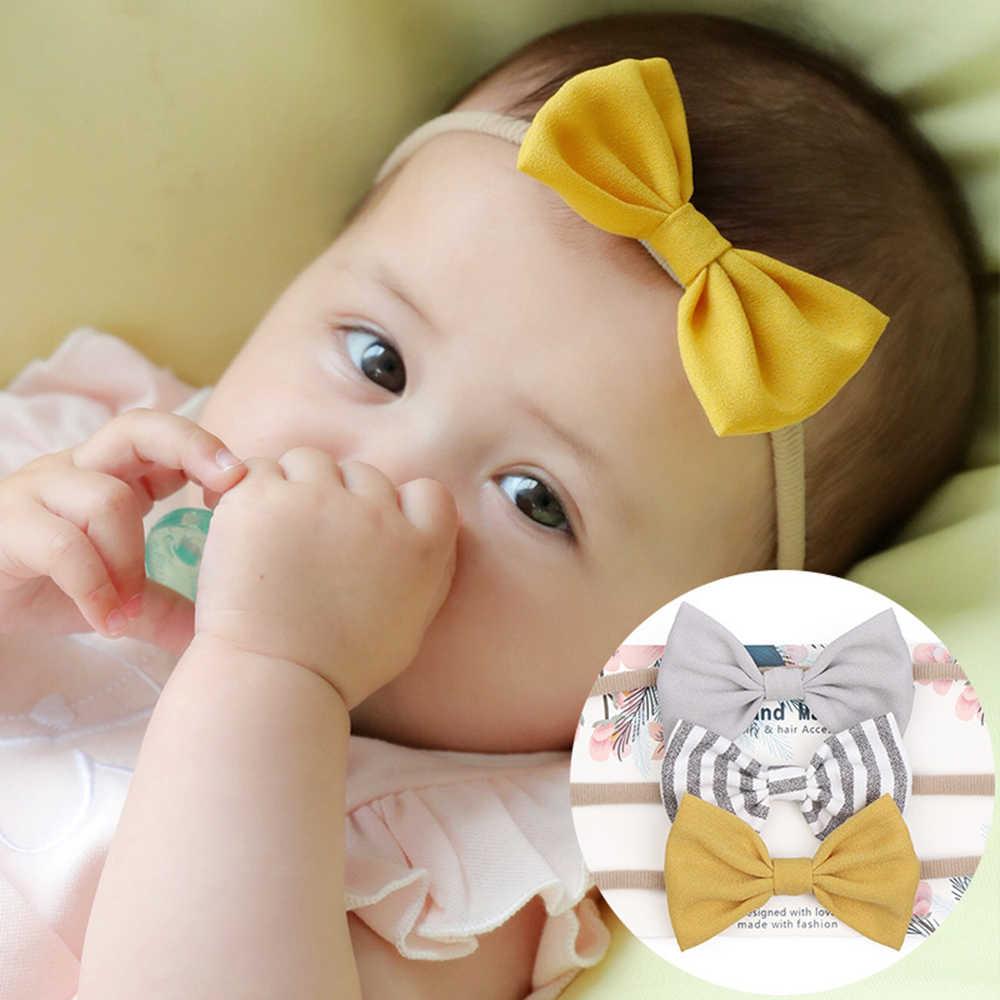 3 pz/lotto del bambino della ragazza della fascia per neonati accessori dei capelli della fascia elastica del cotone headwear