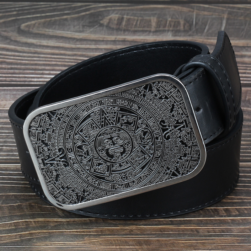 Heavy Metal Cowboy Punk Belt Genuine Leather Hip Hop Belts For Men Cross Rivet Jeans Belt Male Strap Ceinture Homme PT24