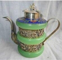 2 шт. тибетский серебряный браслет красиво чайник кувшин доставка Винтаж украшения сада 100% тибетское серебро латунь