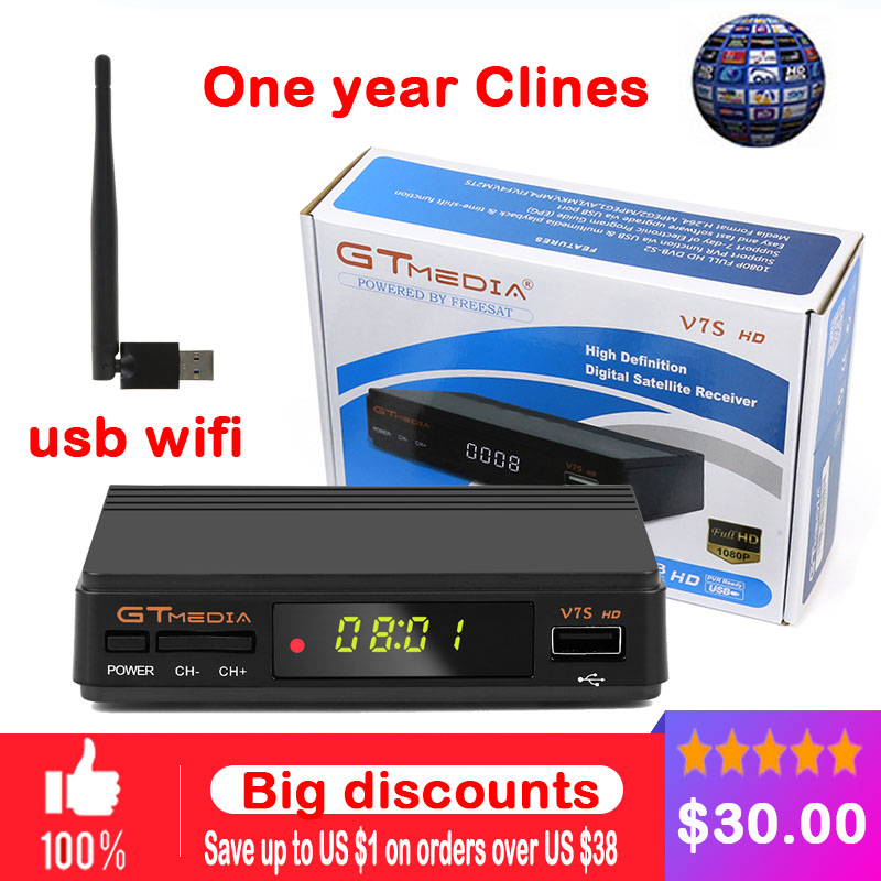 Original V7S HD DVB-S2 HD Satellite TV Receiver Support PowerVu Biss Key clines Newcamd Youporn v8 USB WIFI armwood 524 074 primary