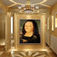 Canvas Handmade by Da Vinci Mona Lisa giclee Cartoom Picture on canvas famous oil painting reproduction high quality