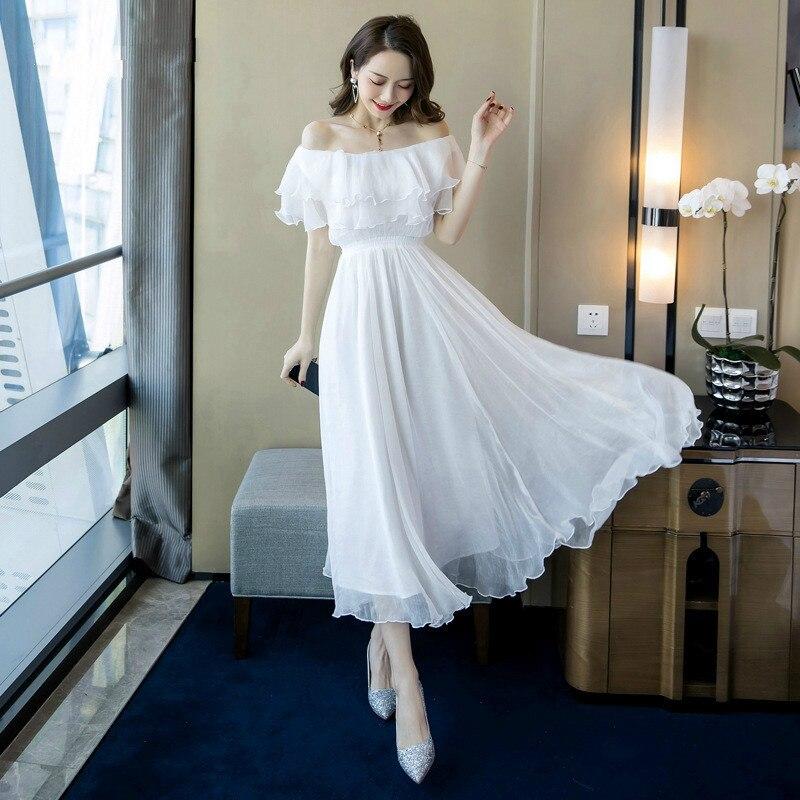 Grande taille a-ligne robe 2019 été femmes blanc à manches courtes volants Slash cou plage Boho longue robe élégante Maxi robe dames - 2