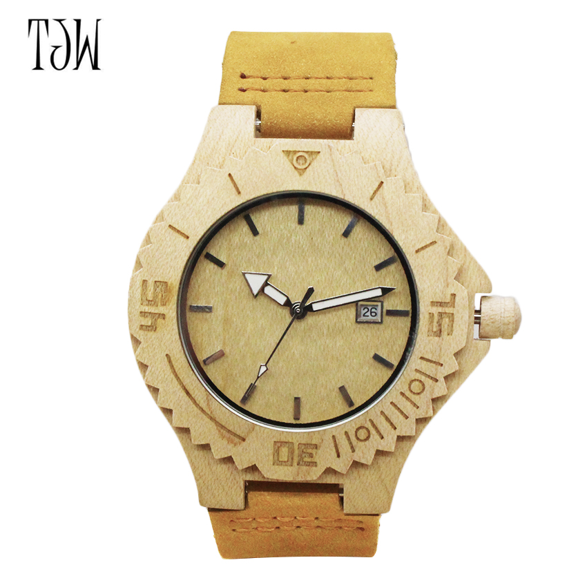 TJW 2017 Men's Bamboo Wooden Wristwatches With Genuine Cowhide Leather Band Luxury Wood Watches for Men as Gifts Item fashion new antique genuine cowhide leather band lovers luxury watches zebra wood bamboo wristwatch for women as best gifts