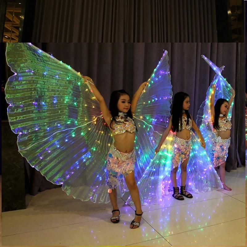 성능 소품 어린이 다색 led 날개 날개 위로 의상 액세서리 배꼽 춤 날개 (스틱 포함)