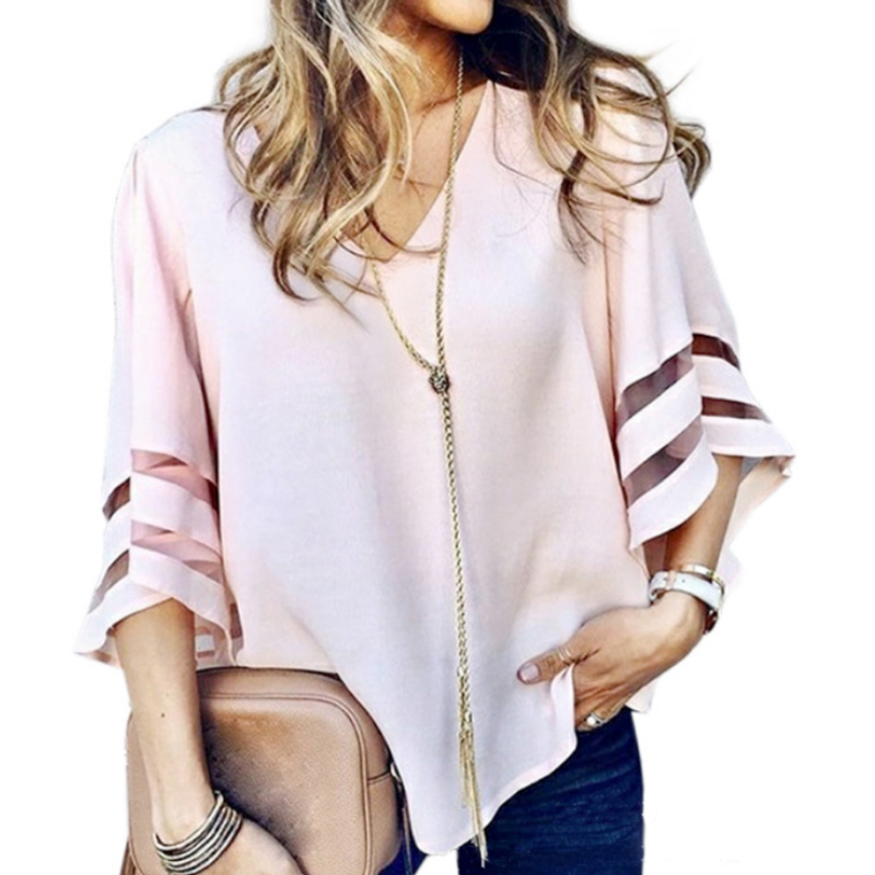 Blouses & Shirts New Women Loose O Neck Tops Ladies Mesh Stitching Casual Holiday Blouse Shirt Female Blusas Tunic Shirts Tops